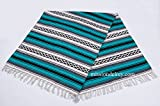 Mission Del Rey Old Mexican Style Woven Blanket with Traditional Designs & Colors for beds, Yoga, Pic Nic, Beach, Travel and Rustic Home Decor (Teal)