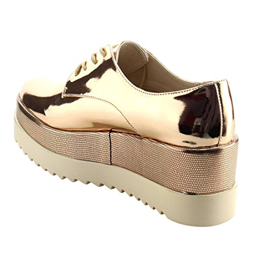 Dbdk Ah26 Dames Metallic Gerijgde Plaform Werkjurk Oxfords Rose Goud