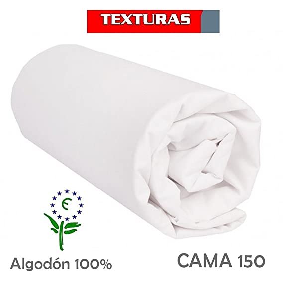 Sábana Bajera Ajustable 100% Algodón TEXTURAS ORO Cama 150 (BLANCO): Amazon.es: Hogar