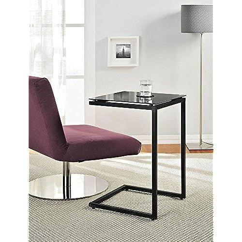 Ameriwood Home Crane Glass Top C Table, Black