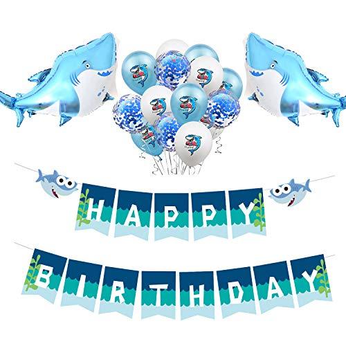 Celebration Balloons Invitation - Baby Shark Happy Birthday Party Banner Balloon Kit with Confetti/Foil Balloons for Kids Birthday Celebration Supplies