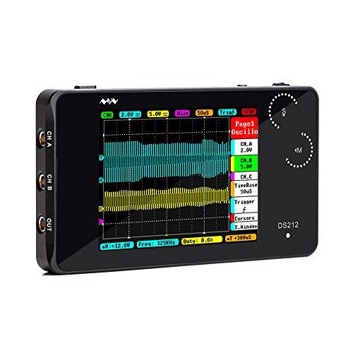 Oscilloscope, KKmoon DS212 DSO Portable Mini 2 Channel Digital Oscilloscope Pocket Size USB Interface2.8 Full Color TFT Display 8MB Memory Storage Bandwidth 1MHz