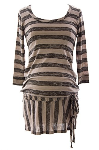 Olian Women's Striped Smocked Drop Waist Maternity Tunic Small Black & (Smocked Waist Maternity Shirt)
