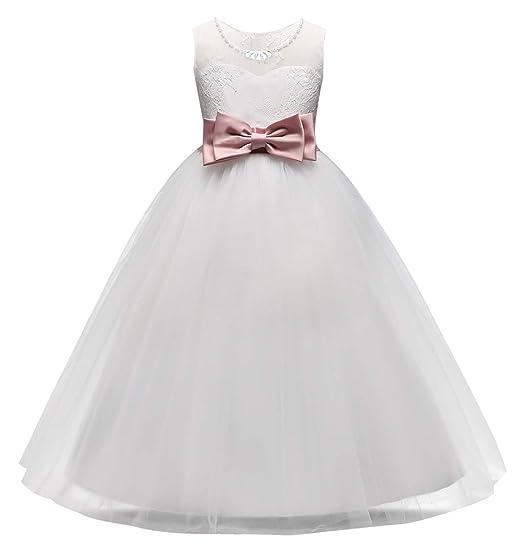 cfa825ac148 HAPPY CHERRY Mädchen Abendkleid Prinzessin Kleider Festkleid Blumenmädchen  Tüll-Kleid Geburtstag Hochzeit Röck Party Cosplay Fasching Kinder Bogenrock  ...