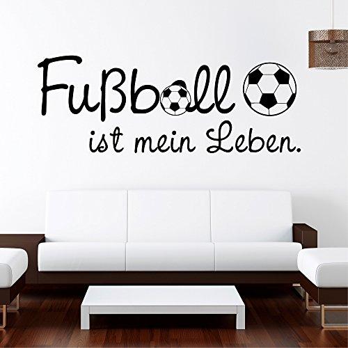 Wandtattoo: Fußball ist mein Leben / 49 Farben / 4 Größen / schwarz / 55 x 148 cm