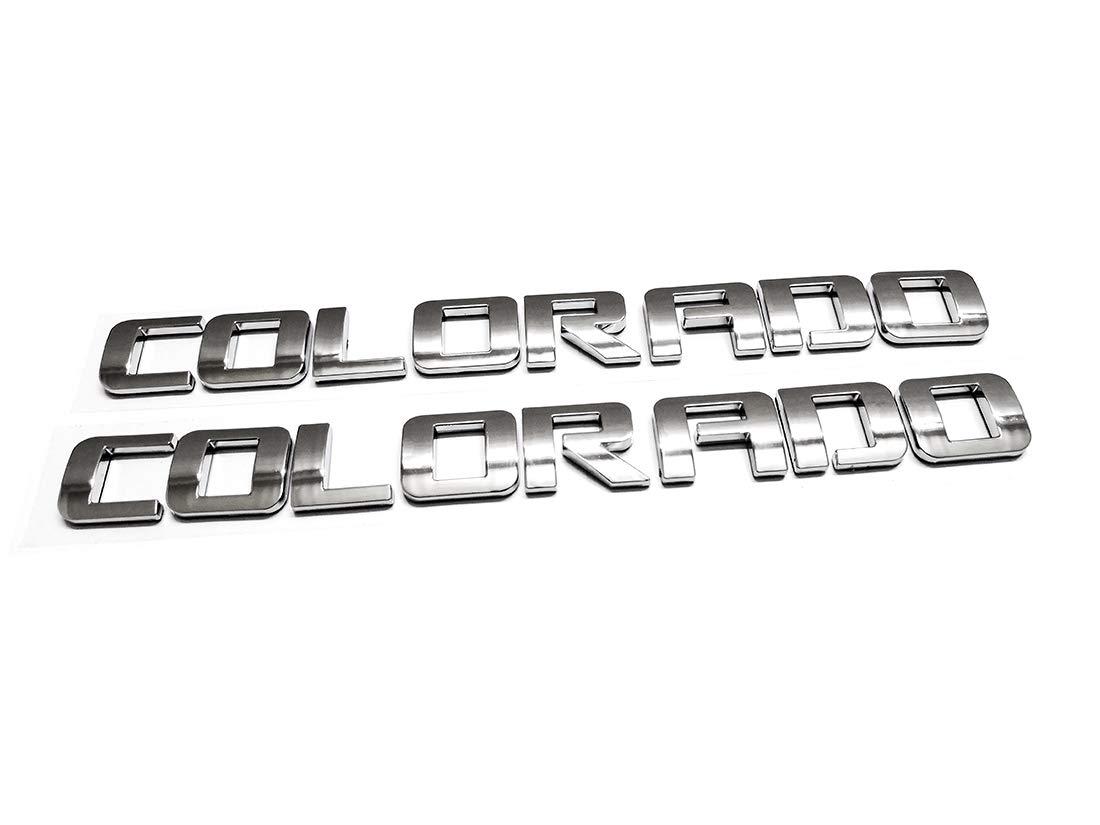 Emzscar 2pcs Chrome Colorado Nameplate Emblem Plastic Letter Badge Replacement for Gm 07-16 Chevrolet Glossy