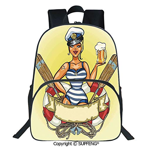 (SCOXIXI School Back Pin Up Sexy Sailor Girl Lifebuoy with Captain Hat and Costume Glass of Beer Feminine (15.75