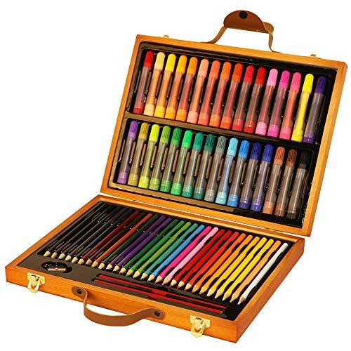 (63 Pcs Art Wooden Box Set Wooden Children Colored Pencil Oil Pastel Watercolor Pan Paints Crayons Drawing Artist Kit)