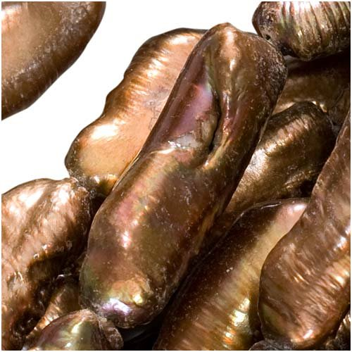 Beadaholique Cultured Gold Bronze Brown Biwa Stick Pearls 17-25mm 16 Inch (Biwa Pearl)