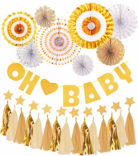 MEANT2TOBE Baby Shower Decorations, Baby Shower Decorations - Baby Shower Banner Oh Baby - Use Boy Girl -