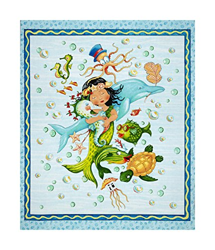 "QT Fabrics Merriment Mermaid 36"" Panel Blue"