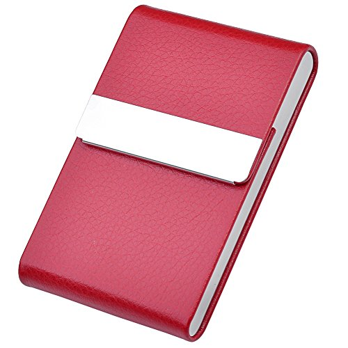 Red Metal and PU Leather Credit Card/Business Card Holder - 1