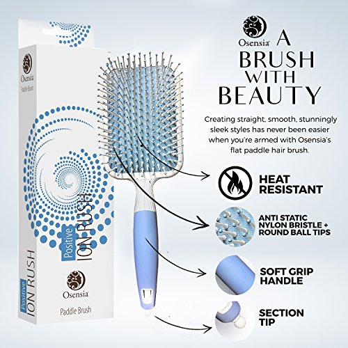 Soft Paddle Brush Infused with Ionic Minerals –Anti Static Flat Detangler Brush for Hair Styling, Blow Drying, Straightening – Gentle, Nylon Bristles, Easy Comfort Grip Flat by Osensia - Made in Korea by Osensia (Image #1)
