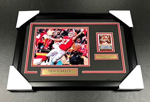 TRAVIS KELCE KANSAS CITY CHIEFS AUTOGRAPHED CARD WITH 8X10 Photo Framed