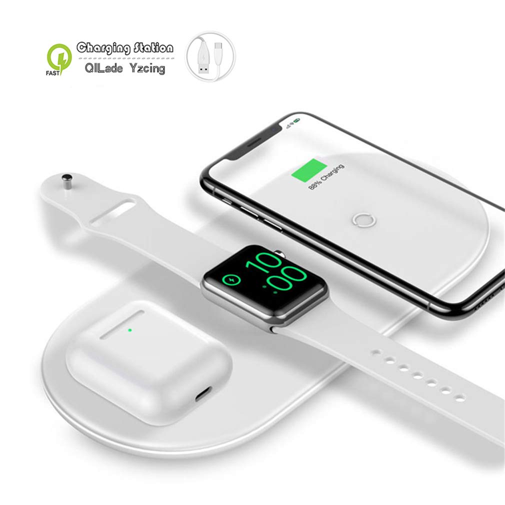 QILade Yzcing Wireless Charging Pad/3 in 1 Portable Wireless Charging Station/Qi Fast Wireless Charger Mat Compatible with Airpods Apple Watch Series 1 2 3 4 iPhone Xs Max Xr X 8 Plus,White by QILade Yzcing