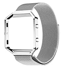 Magnet Lock Milanese loop Stainless Steel Adjustable Replacement Watchband Band Watch Bracelet Strap + Frame Housing for Fitbit Blaze Smart Fitness Watch Silver