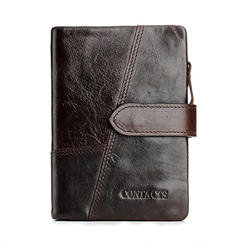 (Men's Leather Wallet, Vintage Cowhide Genuine Leather Mens Wallet with Zipper Coin Pocket (Coffee))