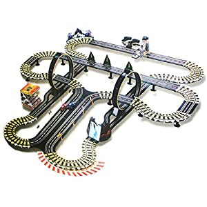kids authority life like mega track set slot car racing set 40 ft of track