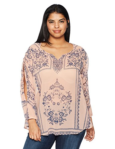 OneWorld Women's Plus Size Long Open Sleeve Woven Blouse with Lace, Lace Garden-Aria, 1X