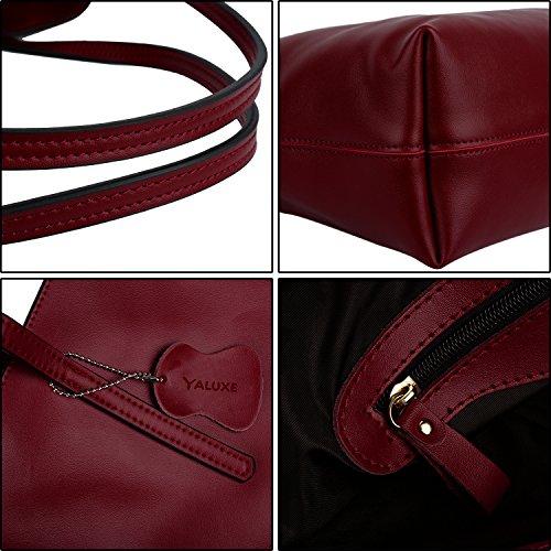 Bandoulière en Cabas à Enduit Veau Rouge Portes Femme Cuir Yaluxe Sac Vogue Main Epaule Simple 0wavxHq4