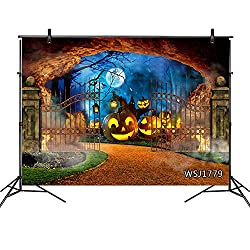 LB Halloween Backdrop 7x5ft Vinyl Pumpkin Lantern Moon Castle Gate Black Bat Photo Backdrop for Halloween Night Party Portrait Photoshoot Photo Booth Backdrop Props