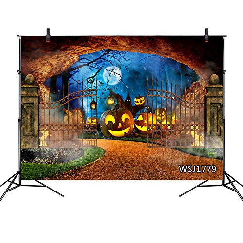 Halloween Background Ghost (LB Halloween Pumpkin Backdrop Haunted Cemetery Ghost Moon Bat Photography Background Party Decorations 9x6ft Seamless Fabric Washable Photoshoot)