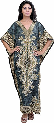 Exotic India Long Printed Kaftan With Dori at Waist - Color - Citadel Ca