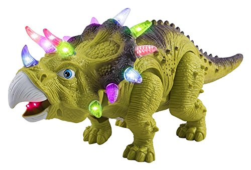 Toy Dinosaur Triceratops Battery Walking Dinosaur Large 14.5 Length Toy Figure With Lights & Sounds, Real Movement Safari Dinosaur Toy (Green Color)