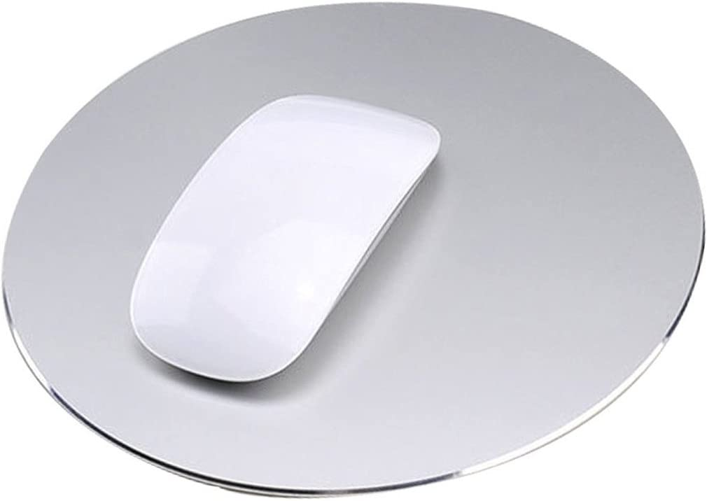Aluminum Mouse Pad, Utoptech Alloy Rubber Anti-Skid Non-Slip Surface Gaming Mouse Pad for Apple MacBook and Computer, 8.6 x 8.6 inches (Silver, Round)