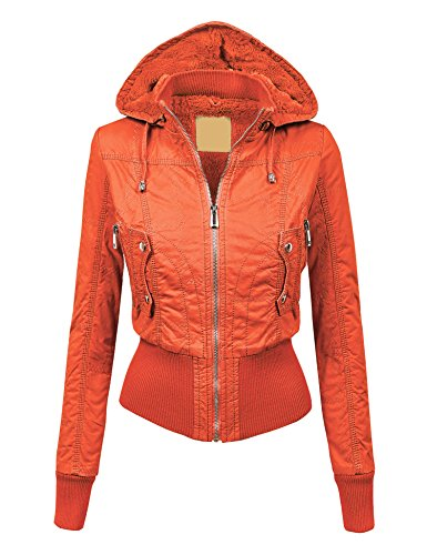WJC1004 Womens Casual Inner Fleece Bomber Jacket with Removable Hoodie L CORAL by Lock and Love
