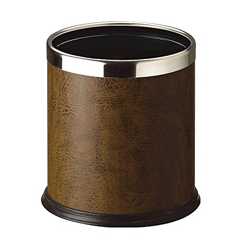 LUXEHOME Overlap Open Top Round Leather Metal Trash Can, Capacity 8 Liter/2 Gal (Brown)