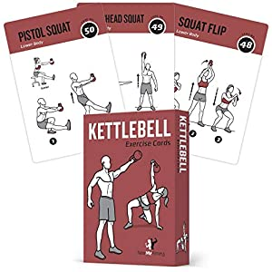 EXERCISE CARDS KETTLEBELL – Home Gym Workouts HIIT Strength Training Build Muscle Total Body Fitness Guide Training…