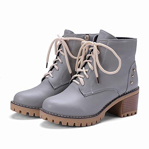 Mee Shoes Damen chunky heels Reißverschluss Plateau Stiefel Grau