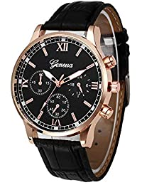 Men Watches, DYTA Business Watches with Silver Stainless Steel Cases PU Leather Strap Under