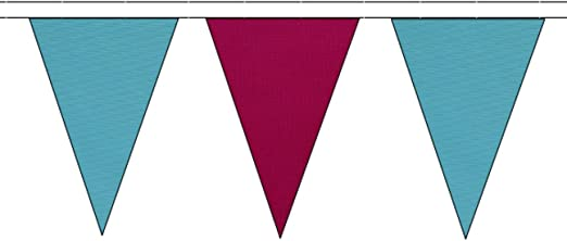 10m with 24 Flags Sky Blue /& Claret Triangular Flag Bunting