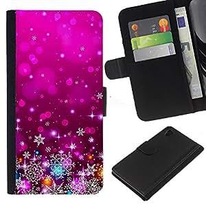 iBinBang / Flip Funda de Cuero Case Cover - Xmas Christmas Purple Lights Decor - Sony Xperia Z4