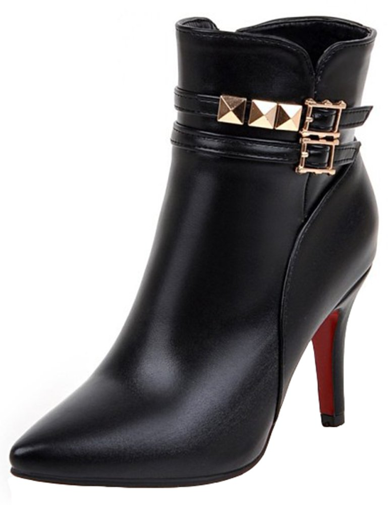 Summerwhisper Women's Sexy Studded Rivets Buckle Straps Pointed Toe Side Zipper Stiletto High Heel Ankle Boots Black 11 B(M) US
