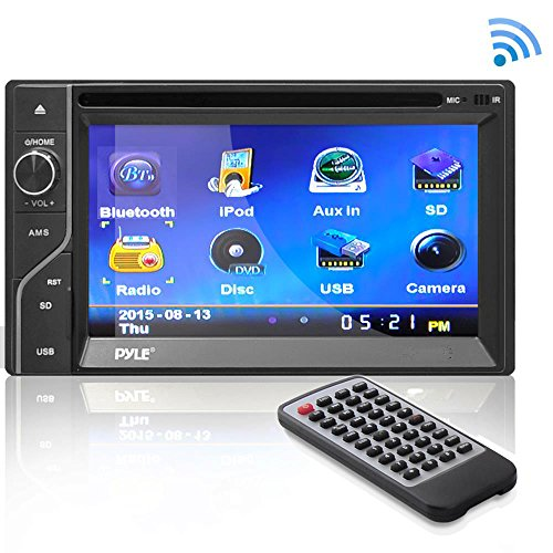 """Premium 6.5"""" Double Din In-Dash Touchscreen TFT/LCD Monitor, Bluetooth Receiver, DVD/CD Player, Handsfree Calling, Head Unit Receiver, USB/Micro SD Card Slot, AM FM Radio and RCA To AUX Input by Pyle"""