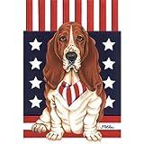 Best of Breed Basset Hound Patriotic Breed Garden Flag