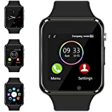 Bluetooth Smart Watch - Aeifond Touch Screen Sport Smart Wrist Watch Smartwatch Fitness Tracker Camera Pedometer SIM TF Card Slot Compatible Samsung Android iPhone iOS Men Women Kid (Black)