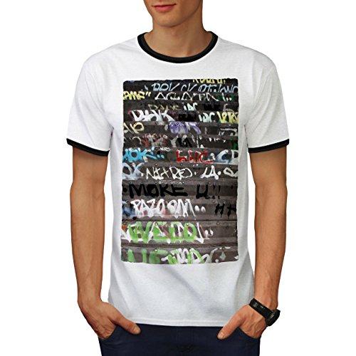 wellcoda Graffiti Rebel Mens Ringer T-Shirt, Spray Paint Graphic Print TeeWhite/Black L ()