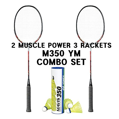 Yonex 2 Muscle Power 3 Rackets Mavis 350 Yellow Medium Shuttle Combo Set
