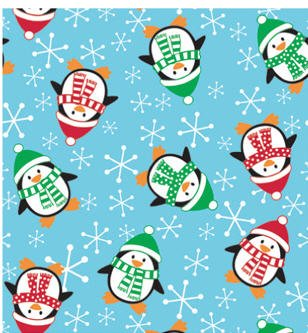 Bundleofbeauty Sk89k – Roly Poly Penguins Christmas Gift Wrapping Roll 24″ X 15′ – Holiday Gift Wrap Paper