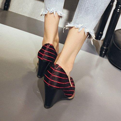 New Classic 8 Pointed Sandalias 5cm Red Slope Heels Shallow de Pump Verano Mujer Zapatos Stripes de High pnxS44