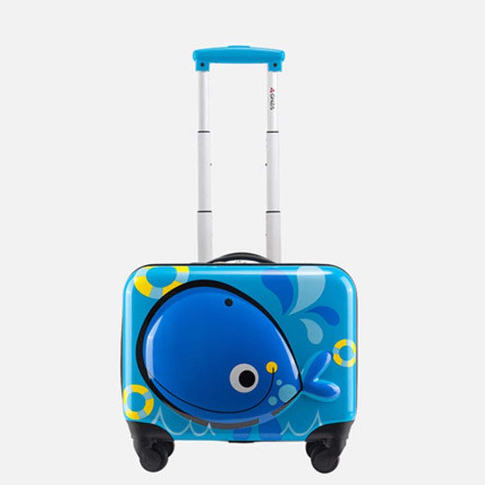 かわいい漫画の子供ローリング荷物キッドスーツケースホイールトロリーケースキャビントランクスクールバッグは、バッグを運ぶ  Blue B07LGB9YJ5