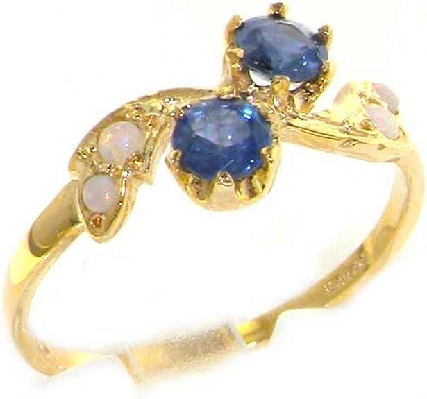 Bague Haute Qualité pour Femme en Or jaune 417/1000 (10 carats) sertie de Saphir et Opale - Tailles 47 à 68 disponibles