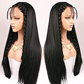 Andria Hair Lace Front Wigs Yaki Straight Hair Wigs Synthetic Heat Resistant Long Hair Wigs with Baby Hair for Black…