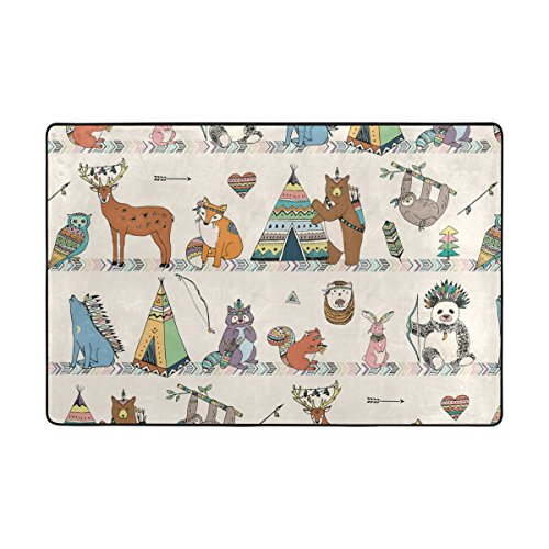 Vantaso Soft Foam Rugs Non Slip Tribal Animals Woodland Forest Bear Owls for Kids Boys Girls Playing Room Living Room 36x24 inch by Vantaso