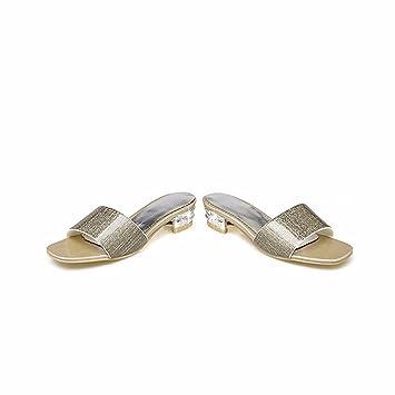 Meine Damen Sandalen, Sommer niedrigem Absatz Damen, Hausschuhe, kühlen Mop, home Schuhe/Badeschuhe, silbrig, 33
