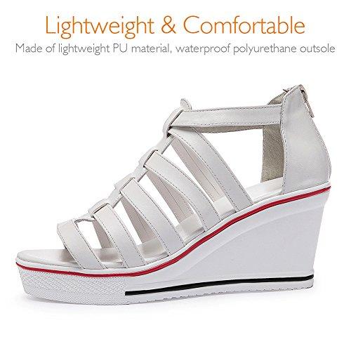 Montantes Talon Femme Ouvert pour 8cm Bout de Qimaoo Chaussures Eté Compensé Sandales à 5qx0nwSWOH